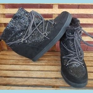 Juicy Couture Boots Black Sparkle Wedge Booties